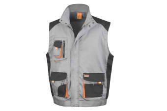 Result Mens Work-Guard Lite Workwear Gilet / Bodywarmer (Breathable And Windproof) (Grey / Black / Orange) (XS)