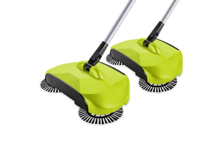 SOGA 2x Hand Push Sweeper Broom Lazy Auto Spin Household Cleaning No Electricity Green