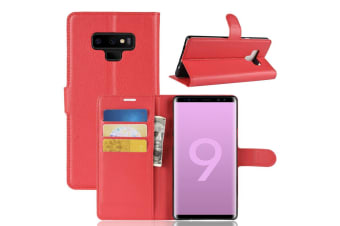 For Samsung Galaxy Note 9 Case Lychee Texture Wallet Flip Leather Cover Red