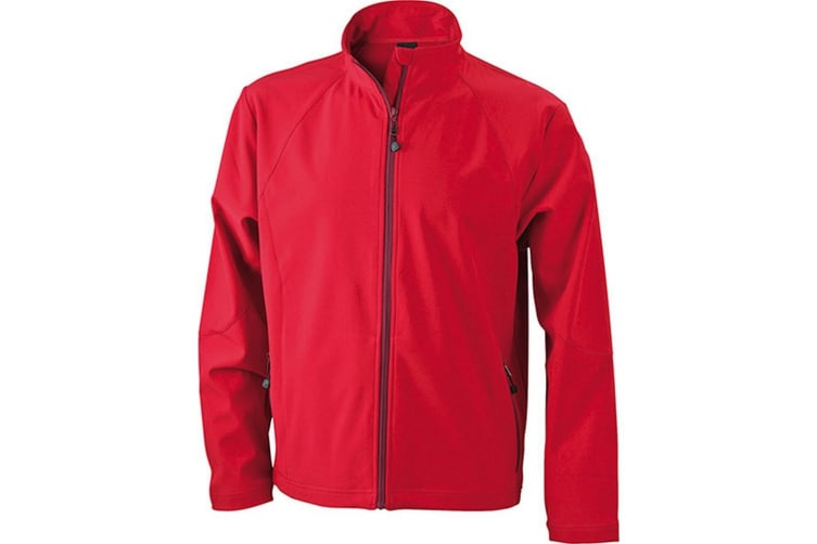James and Nicholson Mens Softshell Jacket (Red) (S)