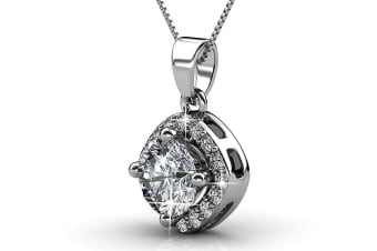 Lux Necklace w/Swarovski Crystals-White Gold/Clear