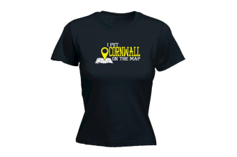 123T Funny Tee - Cornwall I Put On The Map - (Small Black Womens T Shirt)