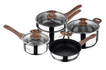 Bergner 5 Piece Granito Stainless Steel Cookware Set with 2 x Saucepan, Steamer, Casserole & Frypan (CWGRASSS5PCSET)
