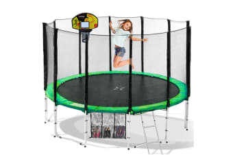 Trampoline with Basketball set Cyclone 12ft Springless - Green