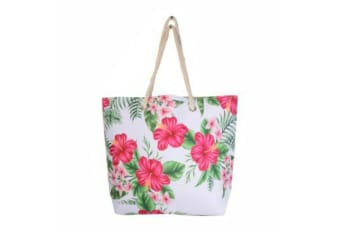 Tropical Tote Bag Handle Large Beach Shopping Summer Floral/Toucan/Palm Design - Floral