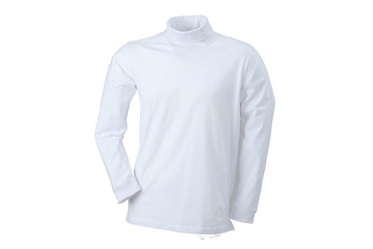 James and Nicholson Unisex Rollneck Shirt (White) (XL)