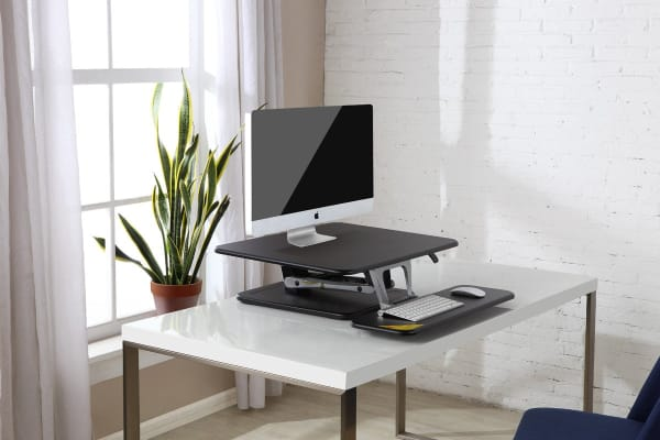 Ergolux Lite Height Adjustable Sit Stand Desk Riser (Medium, Black)