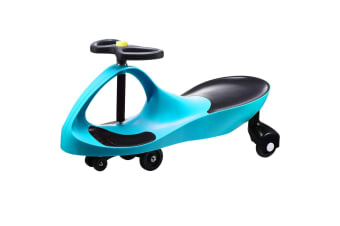 Kids Swing Car Slider Wiggle Scooter Swivel Ride on Toy w/Foot Mat- Bluegreen