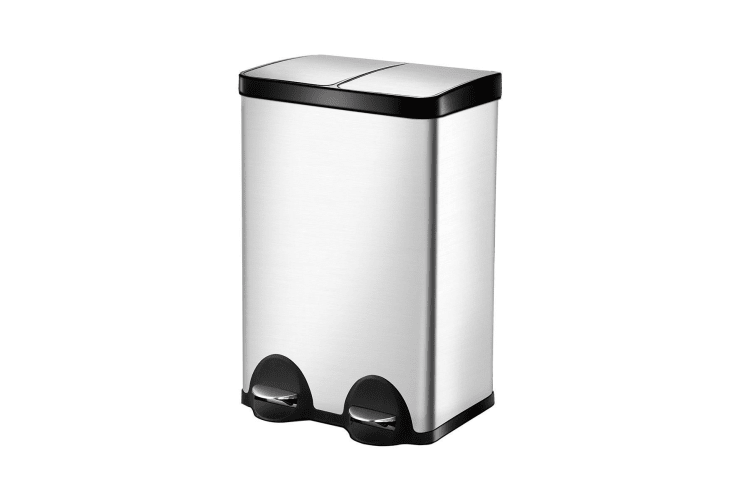 Stainless Steel Sanitary Rubbish Bin with Dual Compartment - 60L