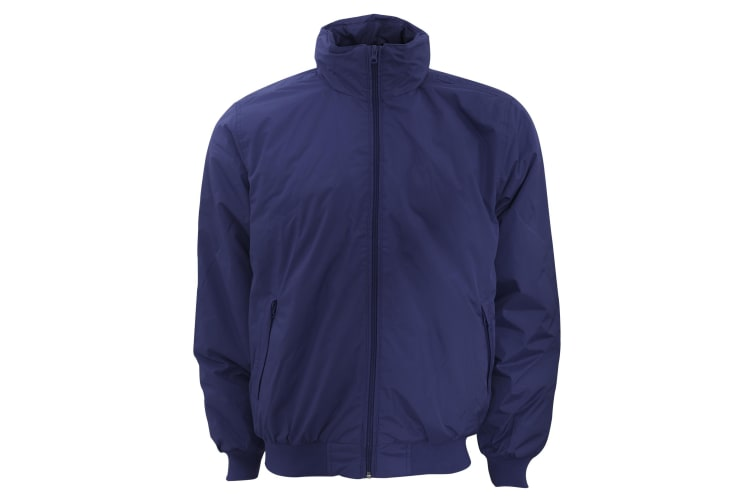 B&C Mens Padded Waterproof Crew Bomber (Navy/ Warm Grey) (L)