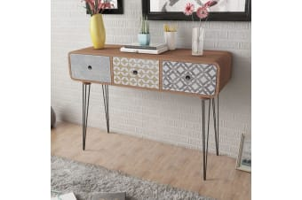 vidaXL Console Table with 3 Drawers Brown