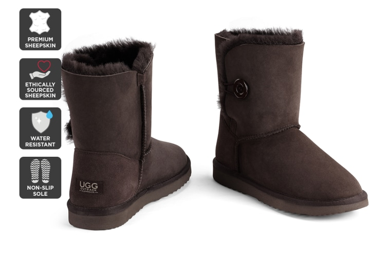 Outback Ugg Boots Short Button - Premium Sheepskin (Chocolate, 5M / 6W US)