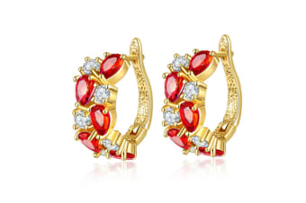Women's Classic 18K Gold Plated Colorful CZ Stone Stud Earrings