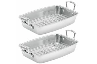 2x Scanpan Impact 44.5x26cm Stainless Steel Roaster Rack Oven Baking Dish Tray