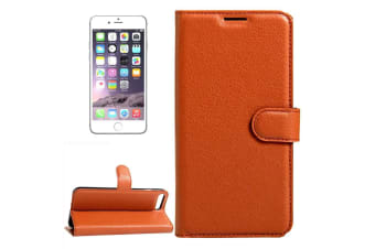 For iPhone 8 7 Wallet Case Stylish Lychee Durable Protective Leather Cover Brown
