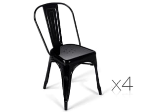 Set of 4 Replica Tolix Dining Metal Chair Bamboo Seat Gloss (Black)