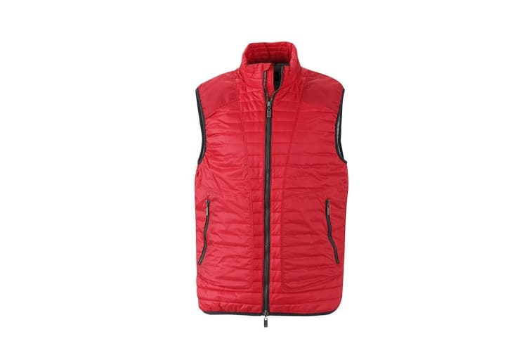 James and Nicholson Mens Lightweight Vest (Indian Red/Silver) (M)