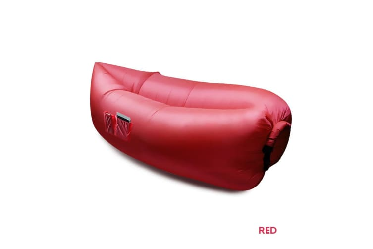New Inflatable Air Bag Sofa Lounge Sleeping bag Camping Bed Outdoor Beach Couch  -  Red x1