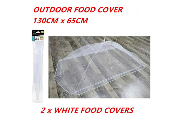2 x White Collapsible Food Covers Fly Net BBQ Outdoor Square Camping 135x65cm