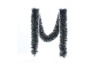 5x Thick Christmas Forest Green Tinsel Snow White Tips Lush Garland Decor 2.5m