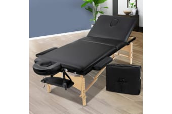 Massage Table 3 Fold Wooden Portable Beauty Therapy Bed 75CM BLACK