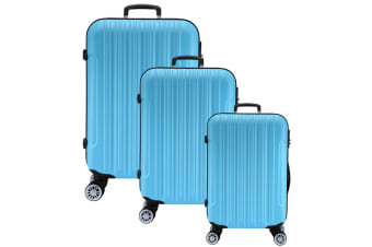 3pc Lenoxx Luggage Travel Case Set w/ Locks Blue