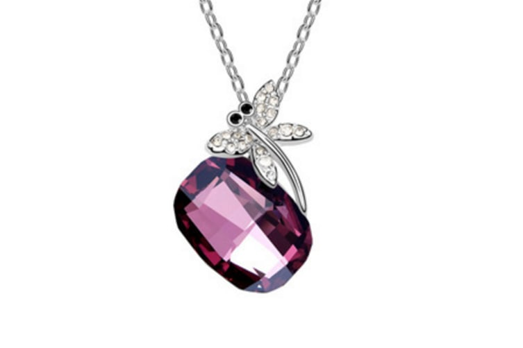 Luxury Austrian Crystal Dragonfly Necklace Pendant Purple