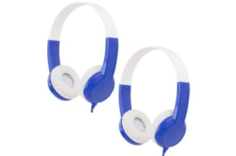 2x Buddyphones Connect Wired Headphones 3.5m w/Stickers/Microphone Kids 3y+ Blue