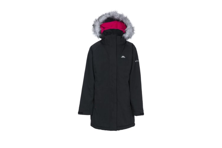 Trespass Childrens Girls Fame Waterproof Parka Jacket (Black) (7-8 Years)
