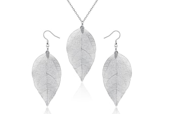 """The Tale Of Autumn Long Necklace Natural Boho Leaf With 30"""" Chain Silver"""