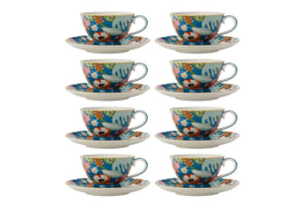 8PK Maxwell & Williams Teas & C's 200ml Tea Footed Cup & Saucer Set Alpinia Teal