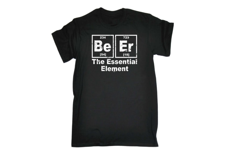 123T Funny Tee - Beer The Essential Element - (X-Large Black Mens T Shirt)