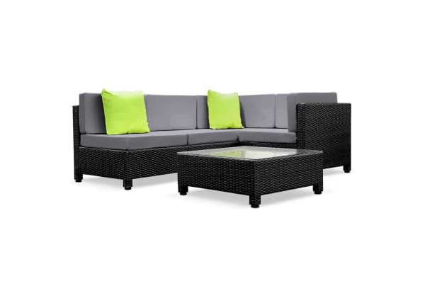 5 Piece Wicker Rattan 4 Seater Outdoor Lounge Set (Black/Grey)