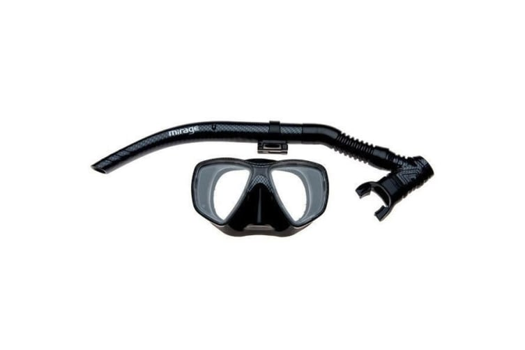 Mirage Adult Carbon Silicone Mask and Snorkel Set Black