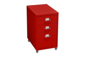 3 Drawers Steel File Cabinet Red