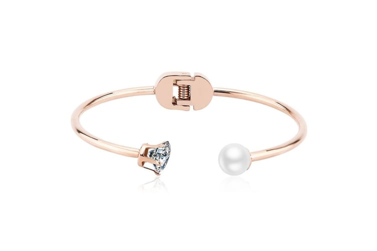 Pearl And Sparks Bangle-Rose Gold/Pearl White