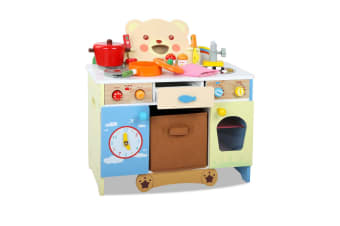 Kids Wooden Teddy Bears Kitchen Pretend Play Set