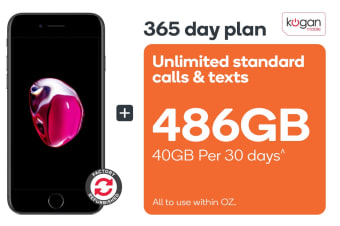 Apple iPhone 7 Refurbished (32GB, Black) + Kogan Mobile Prepaid Voucher Code: EXTRA LARGE (365 Days | 40GB Per 30 Days)