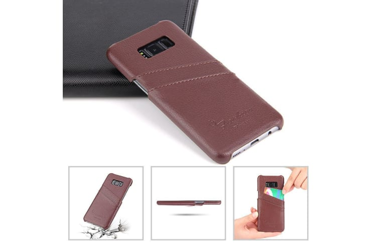 For Samsung Galaxy S8 Case Stylish Handmade Genuine Leather Fashion Cover Brown