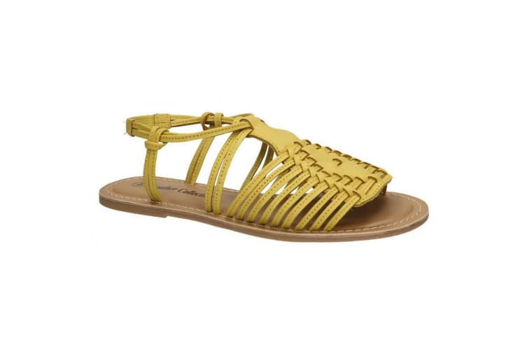 Leather Collection Womens/Ladies Leather Flat Strappy Sandals (Lemon) (6 UK)