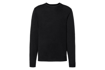 Russell Collection Mens Crew Neck Knitted Pullover Sweatshirt (Black) (S)
