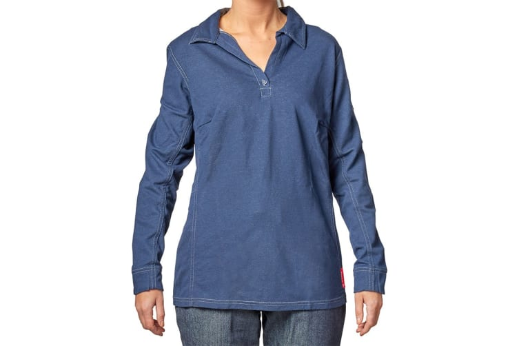 Hard Yakka Women's Bulwark iQ Flame Resistant Long Sleeve Polo (Dark Blue, Size 2XL)