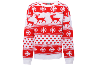 Christmas Shop Womens/Ladies Nordic Jumper (White/Red) (S UK)