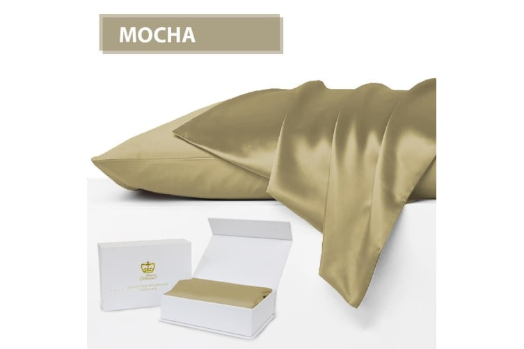 Luxor Crown Set of 2 Mulberry Silk Fronted Pillowcases MOCHA