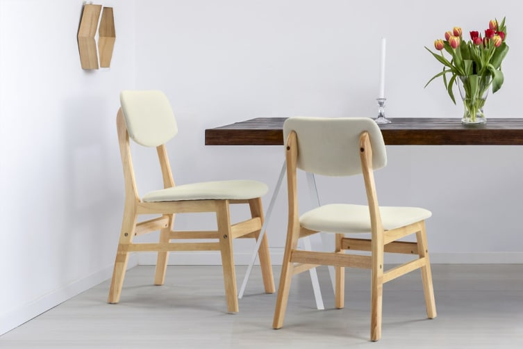 Shangri-La Set of 2 Anja Dining Chairs (Beige, Fabric)