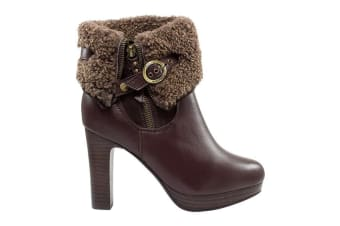 Auzland Ugg Leather High Heel Boot Wool Lining