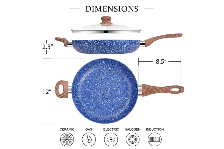 Non-stick Fry Pan w/ Lid Marble Blue Stone Aluminium Frypan Induction Cookware