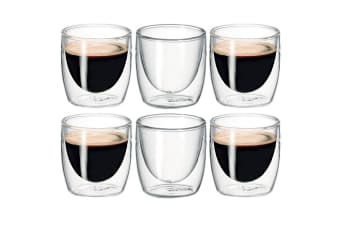 6Pc Avanti Caffe Twin Wall Glass 100ml Coffee Thermal Mug Glasses Expresso Cups