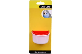 Plastic D Shape Bird Feeder Cup 2 Pack - Small (7.1cm & 7.5cm) (Avi One)