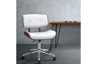 Artiss Office Chair Leather Computer Chairs Executive Wooden Seat Bentwood White